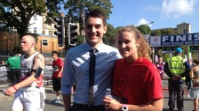 Shaun Burchell proposed to Catherine Everard on the finish line