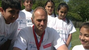 Sir Steve Redgrave encouraged young children in Telford to participate in sport today