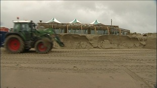 Hundreds of tonnes of sand had to be shifted at Perranporth