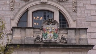 Arms on Torbay council window