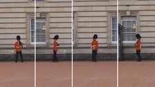 The soldier performed stunts while on duty guarding Buckingham Palace