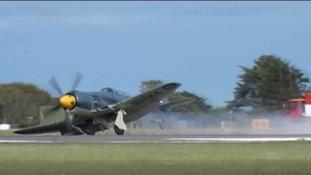Sea Fury making an emergency landing at the Culdrose Air Day