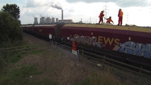 50 Greenpeace activists managed to stop and occupy the coal train