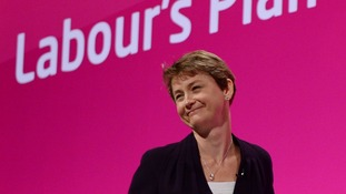 Shadow home secretary Yvette Cooper addresses delegates on the last day of the Labour Party conference in Manchester.