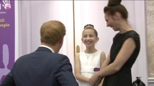 Rachel Hooley with her mum, Eve, and Prince Harry at the WellChild Awards