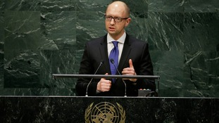 Ukraine's Prime Minister Arseniy Yatsenyuk addresses the 69th session of the United Nations General Assembly.