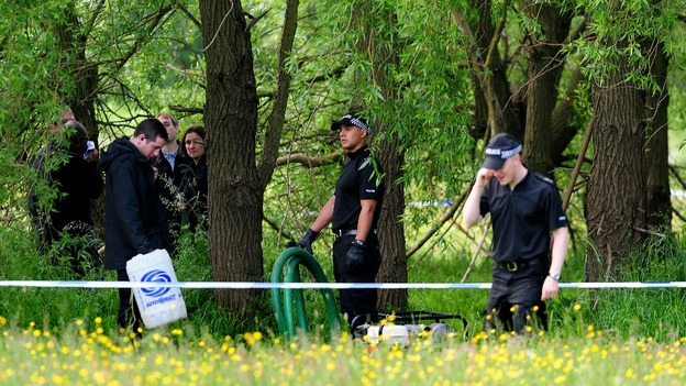 West Midlands Police officers at the search site in Coventry.
