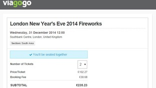 Tickets for sale for over £100 on Viagogo