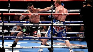 Carl Froch (left) in action against George Groves