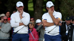 Losing out: Lee Westwood (right) alongside Jamie Donaldson lost their foursomes match today