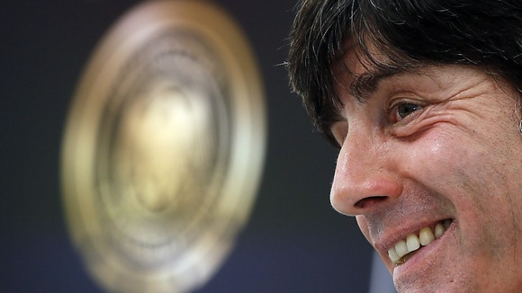 Germany head coach Joachim Low addresses the media during a press conference in Gdansk.