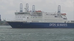 The DFDS ferry leaves Harwich
