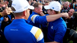 Europe's Jamie Donaldson (centre) and Stephen Gallacher (right) celebrate winning the Ryder Cup