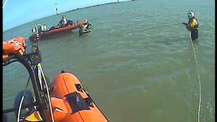 The Happisburgh lifeboat helps a dive boat