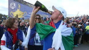 Jamie Donaldson celebrates after winning the 40th Ryder Cup at Gleneagles