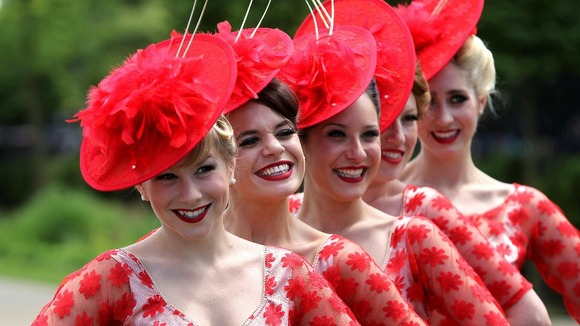 Race-goers attend the first day of Royal Ascot.