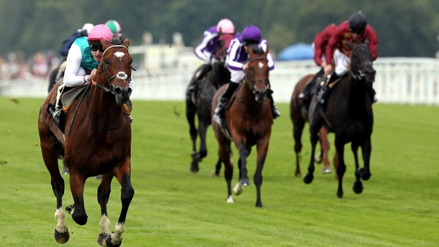 Frankel ridden by Tom Queally wins the Queen Anne Stakes.