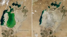 The Aral Sea seen in 2000 and 2014.