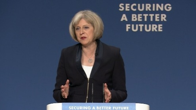 Theresa May addressing the Conservative Party conference.