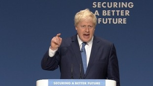 Boris Johnson speaking at the Conservative party conference in Birmingham.