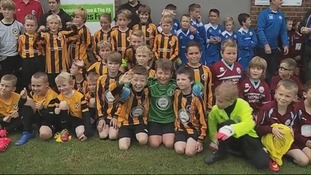 Young footballers celebrate new venue