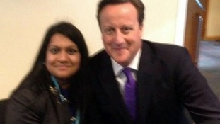 The prime Minister pictured with Parveen Hassan