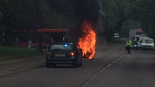 Passer-by captures images of car fire
