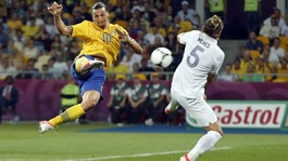 Sweden striker Zlatan Ibrahimovic scores the first against France.