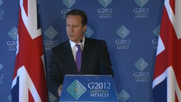 David Cameron addressing the media at the G20