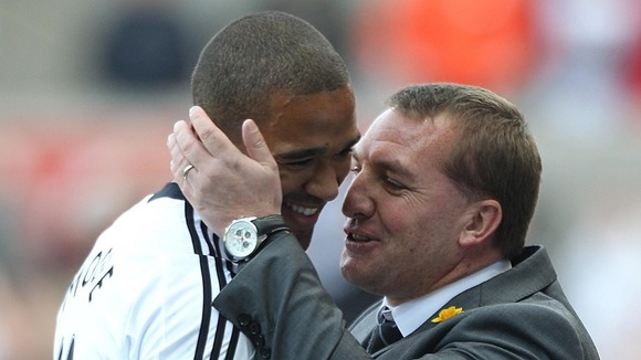 Luke Moore (l) and Brendan Rodgers