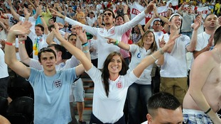 England fans celebrate in the stands