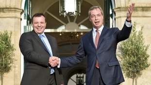 Ukip leader Nigel Farage (R) with defected Former Conservative donor Arron Banks