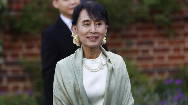 Aung San Suu Kyi arriving at a reception in Oxford last night 