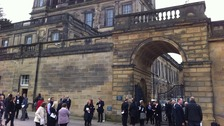 Mourners gather at the Chatsworth House, ahead of the Dowager Duchess of Devonshire's funeral