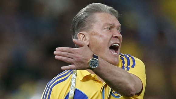 Ukraine coach Oleh Blokhin rallies his troops during the Group D match against England in Donetsk.