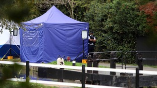 A police tent on the towpath by the River Brent in Hanwell, west London, after the Alice Gross investigation became a murder inquiry