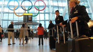 Giant Olympic Rings are unveiled at Terminal 5 of Heathrow Airport.