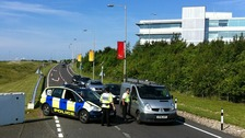 Police roadblock at Stansted airport