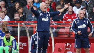 Ipswich Town's manager Mick McCarthy looks dejected at the end of the game against Nottingham Forest