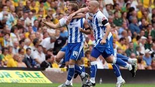 David Fox celebrates scoring for Colchester United against Norwich City in 2009.