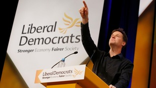 Nick Clegg addresses the party conference.