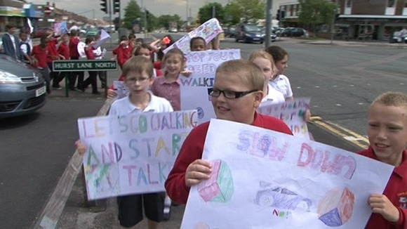 Children march for safer roads