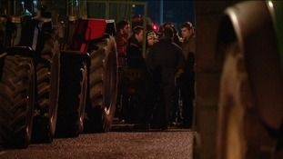 More than 50 tractors blocked the entrance to the Morrisons depot