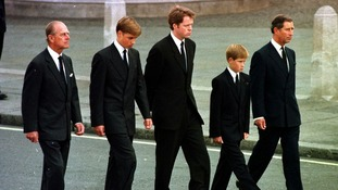 September 1997: Prince of Wales, Prince William, Prince Harry, Earl Althorp and Duke of Edinburgh walk behind Diana's funeral cortege