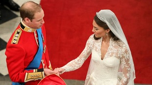 April 2011: Duke and Duchess of Cambridge during their wedding at Westminster Abbey