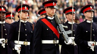 December 2006: Graduates, including Prince William, march in the Sovereign's parade at Sandhurst