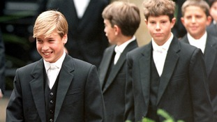 September 1995: Prince William leads his classmates to lessons on his first day at Eton School