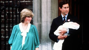 June 1982: The Prince and Princess of Wales leaving St Mary's Hospital after the birth of their baby son, Prince William