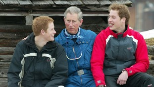 March 2005: Prince of Wales with his sons Harry and William during a media photocall in Monbiel