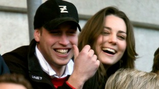 February 2007: Prince William and his girlfriend Kate Middleton enjoy the rugby as England play Italy in the RBS Six Nations Championship